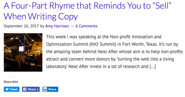 Example of a copywriting blog post