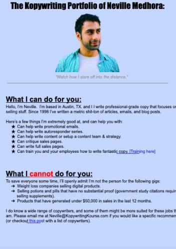Google Docs copywriter portfolio