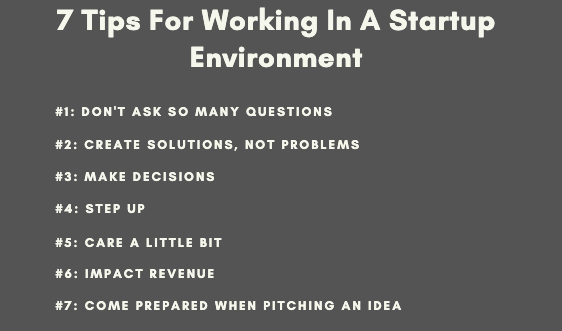 7 tips for working in a startup environment